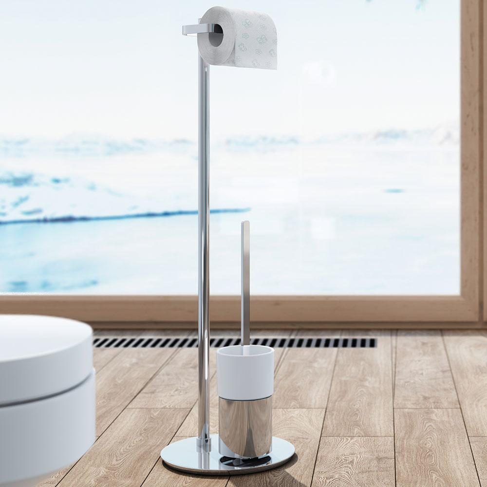 Smedbo Outline Toilettenpapierhalter Mit WC Bürste Porzellan Standmodell  FK312P | Rund   CreativBad Shop.de