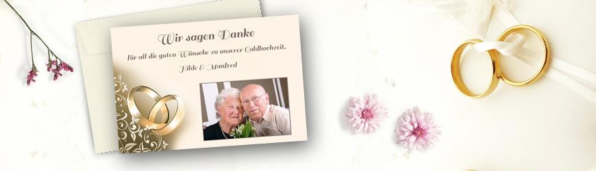 Dankeskarten Danksagungen Goldenen Hochzeit Tischkarten