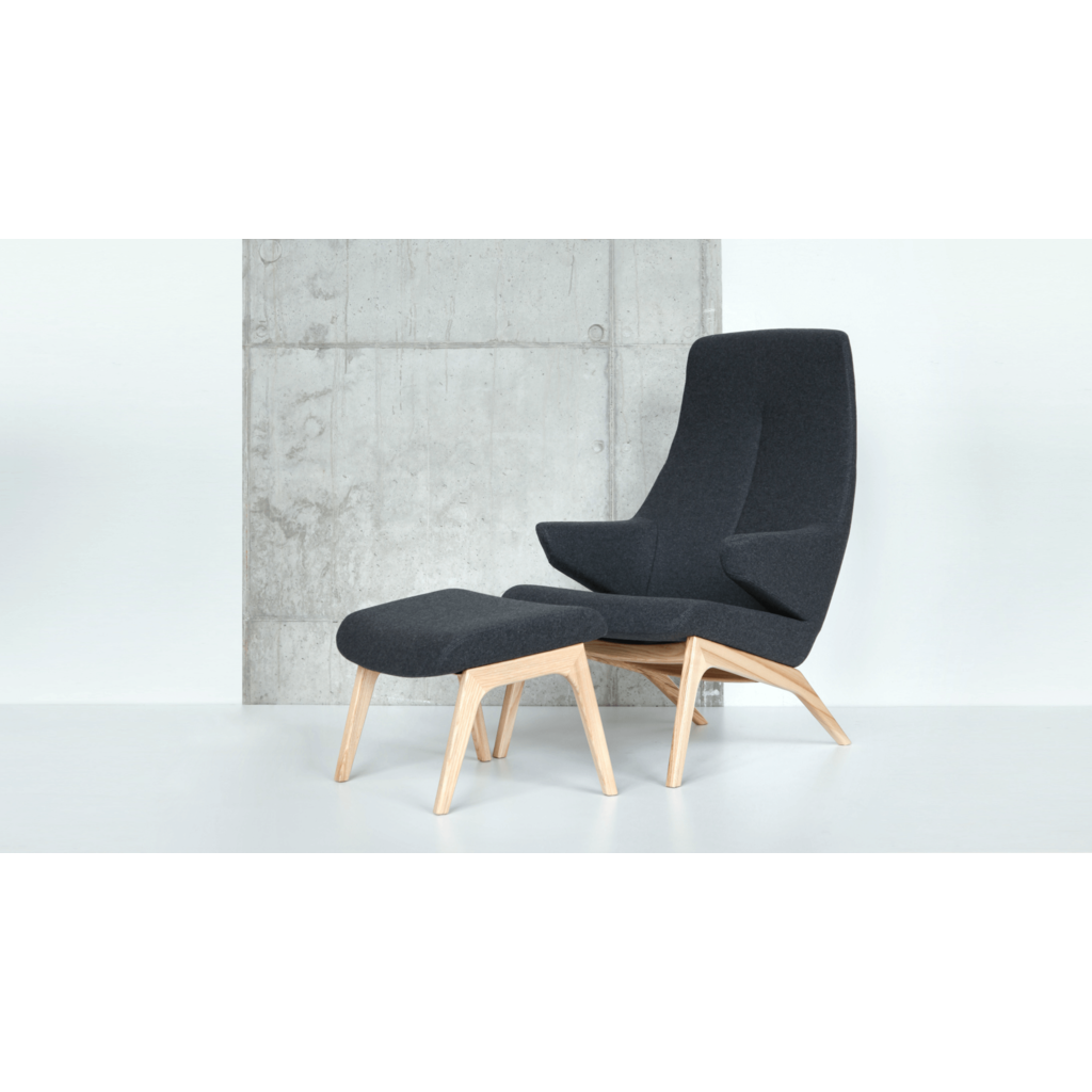Hocker zum Sessel anthrazit Retro Design