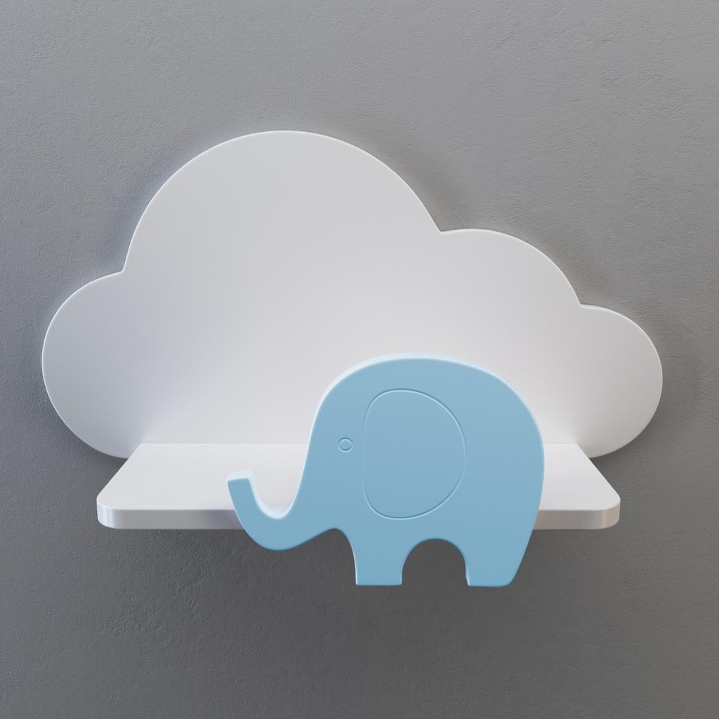 wandregal kinderzimmer aus holz wolke elefant. Black Bedroom Furniture Sets. Home Design Ideas