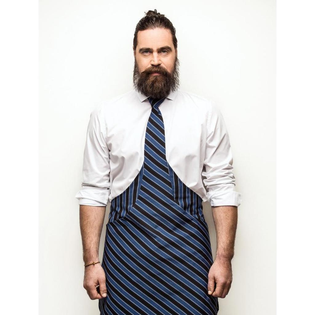 Kochschürze & Krawatte in einem! - blau-schwarz