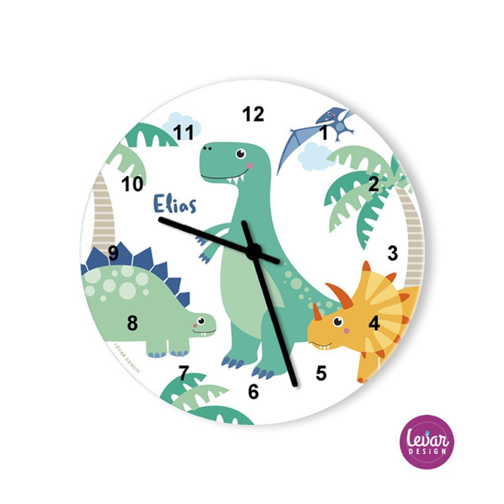 Wanduhr, Kinderzimmer Uhr, Dinos, Dinosaurier, mit Namen personalisiert