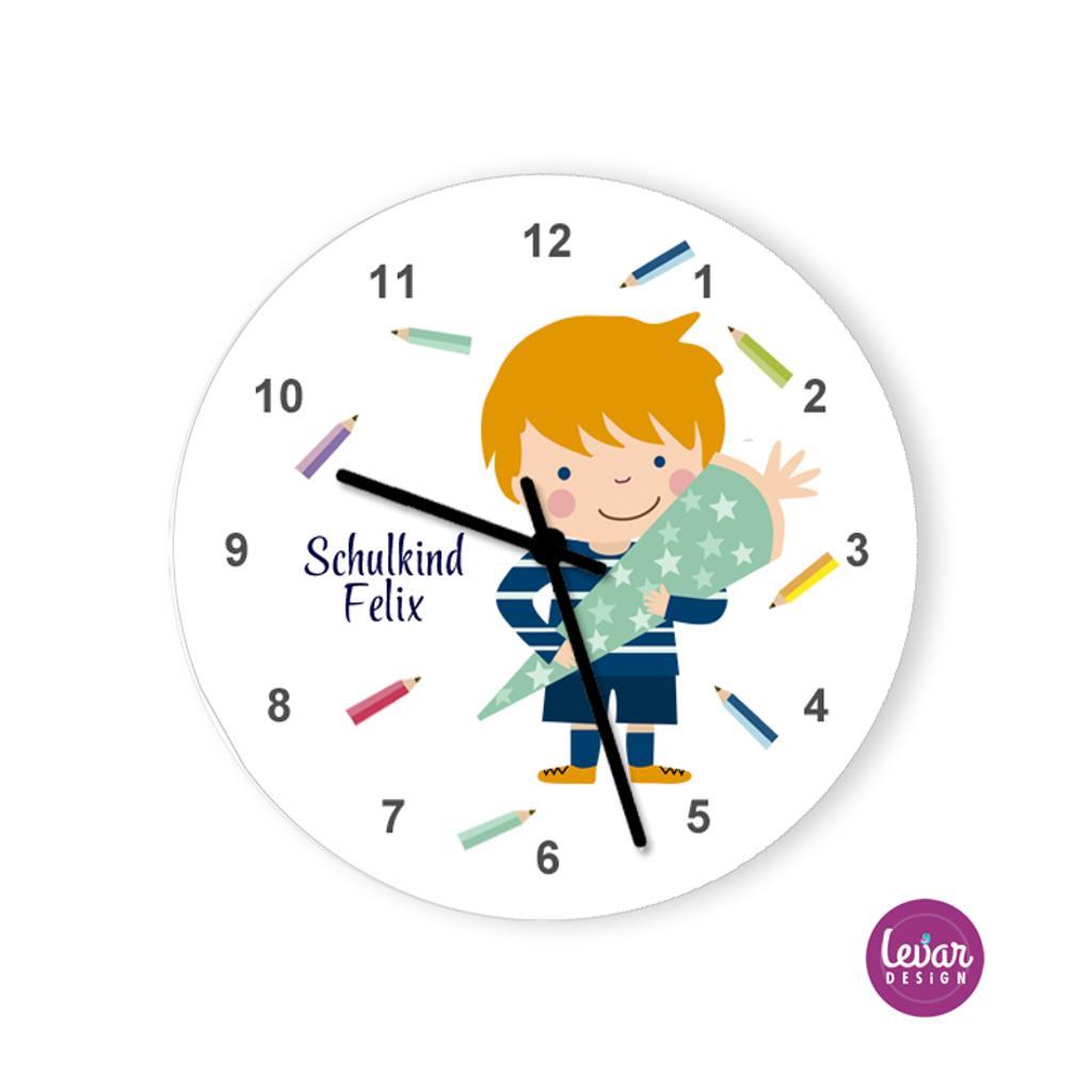 Wanduhr, Kinderzimmer Uhr, Schulkind, mit Namen personalisiert