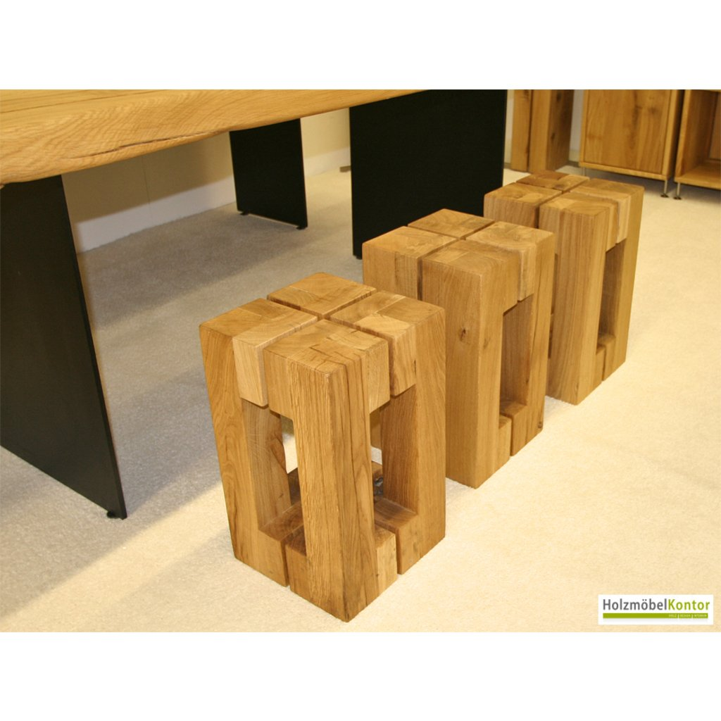Design hocker holz  Holz Hocker Eiche massiv - modernes Design.