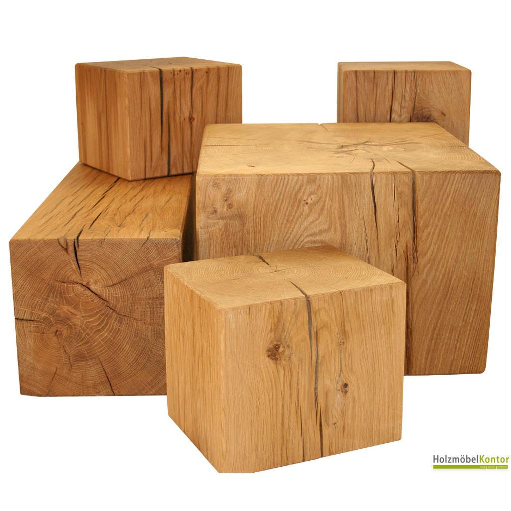 eichenklotz tisch 40cm x 40cm x 45cm auf rollen. Black Bedroom Furniture Sets. Home Design Ideas
