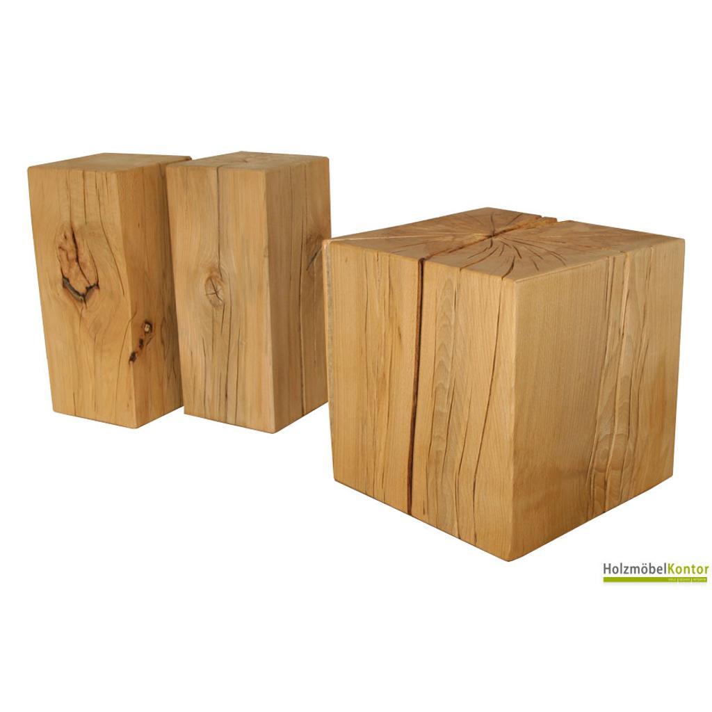 Holzklotz buche vollmassiv 40cm x 40cm x 30cm for Beistelltisch holzklotz