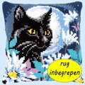 Cat in the Night MET RUG - Vervaco Kruissteekkussen