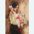 Woman with Bouquet - borduurpakket met telpatroon Dimensions