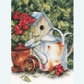 Watering Can and Birdhouse - borduurpakket met telpatroon Lanarte
