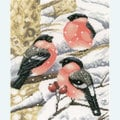 Finches in the Snow - borduurpakket met telpatroon Lanarte