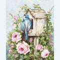 Bird House and Roses - borduurpakket met telpatroon Luca-S