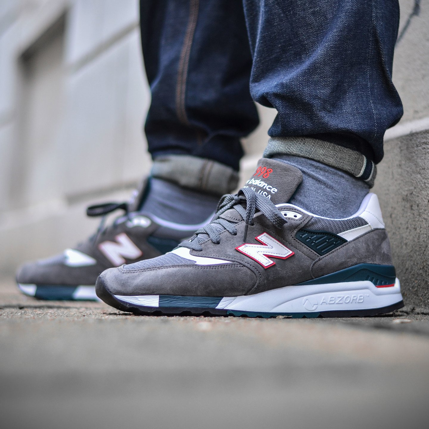 New Balance M998 CRA - Made in USA Granite Grey / White / Red M998CRA