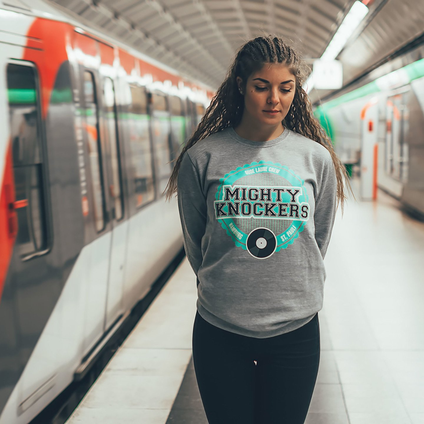 Mighty Knockers Crewneck Sweatshirt Heather Grey / Mighty Mint MK05-XL