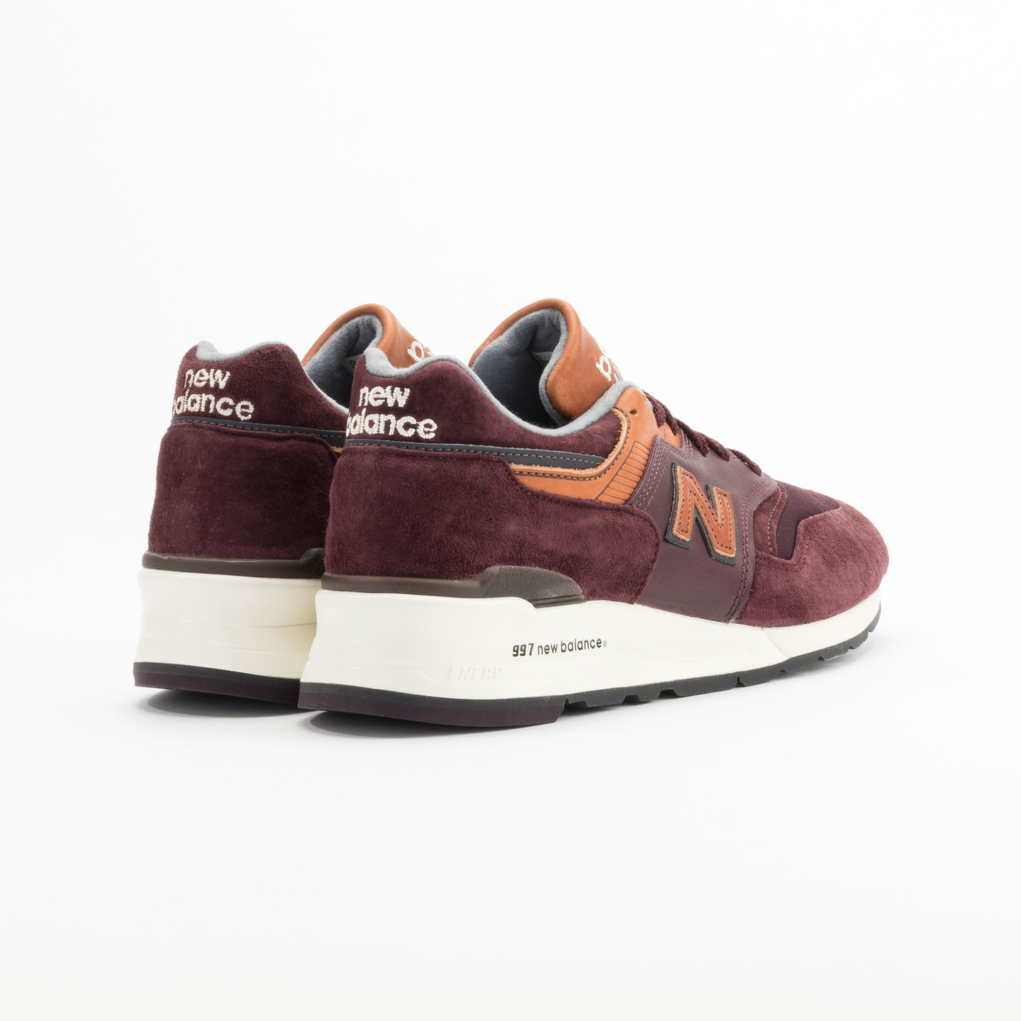 New Balance M997 Made in USA Burgundy / Light Brown M997DSLR-45