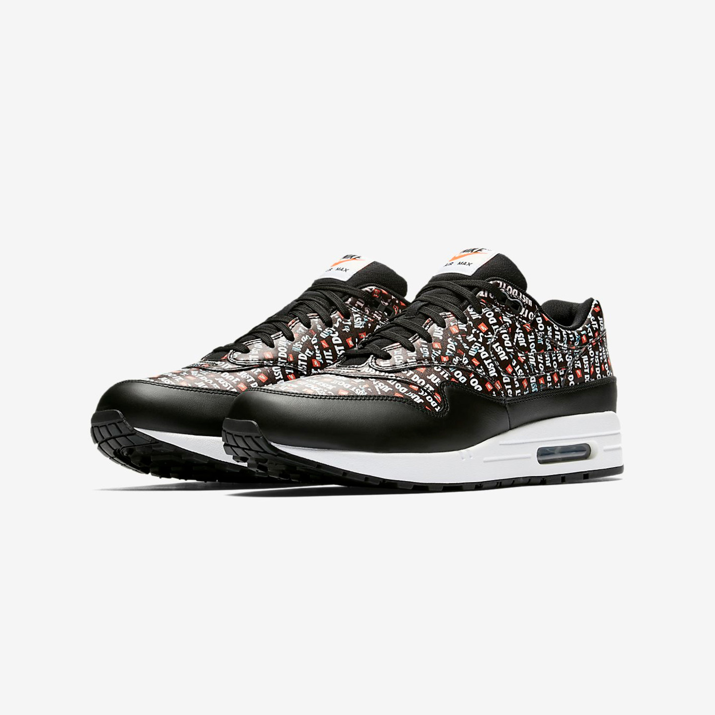 Nike Air Max 1 Premium 'Just Do It' Black / White / Total Orange 875844-009