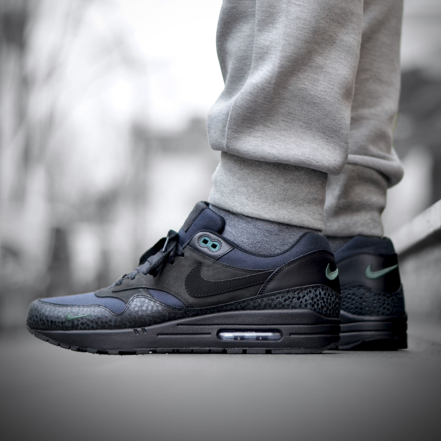 Nike Air Max 1 Premium 'Bonsai Safari' Black / Black / Bonsai 512033-030-45.5