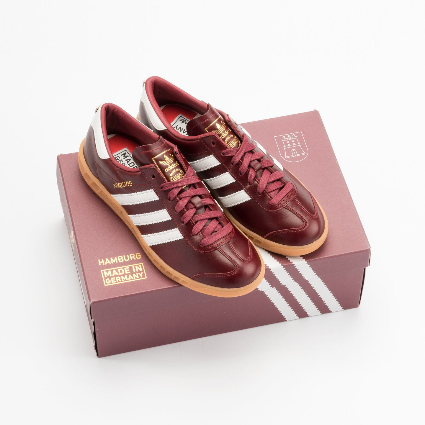 Adidas Hamburg - Made in Germany Burgundy / White / Gold / Gum S31603-42.66