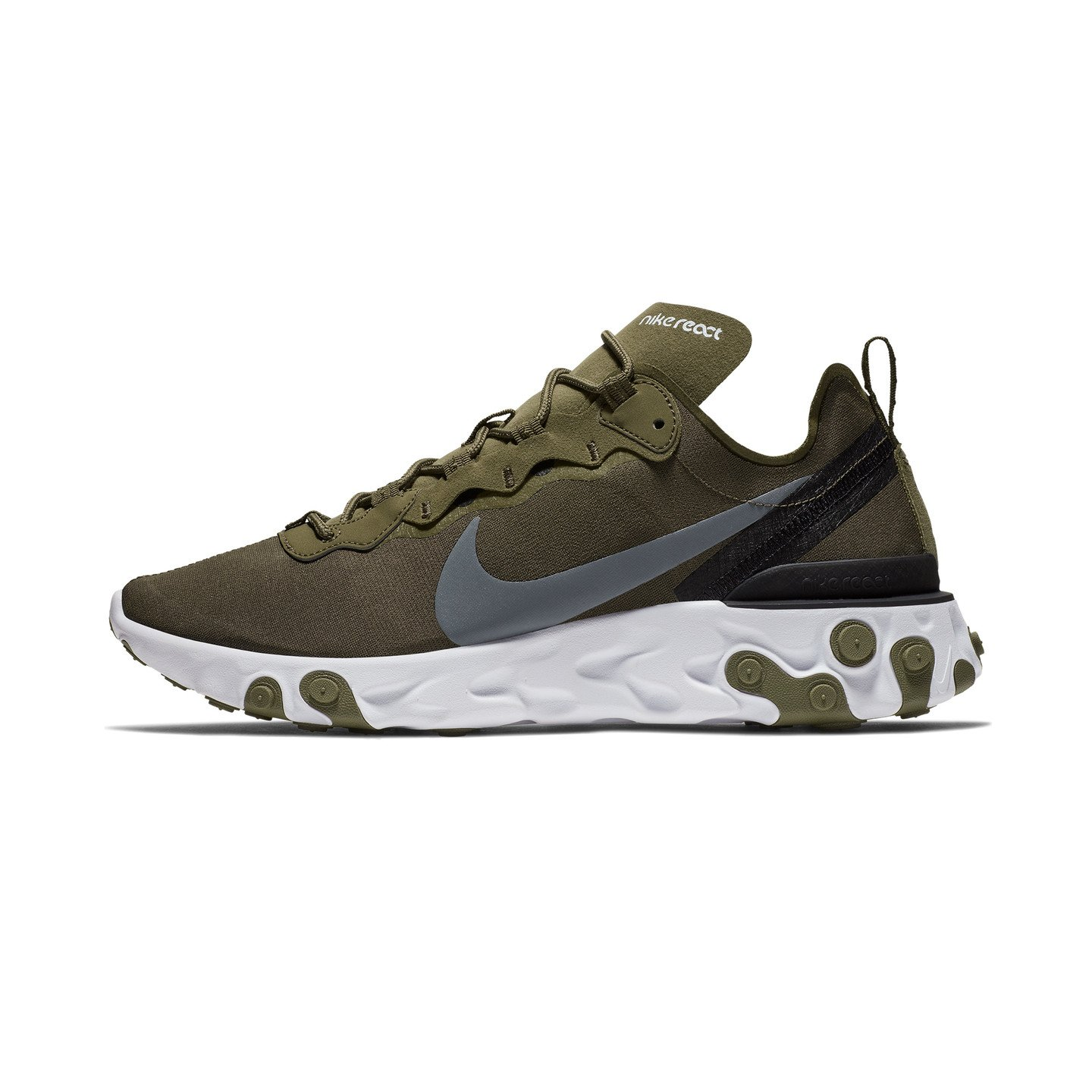 Nike React Element 55 Medium Olive / Cool Grey / Black / White BQ6166-200