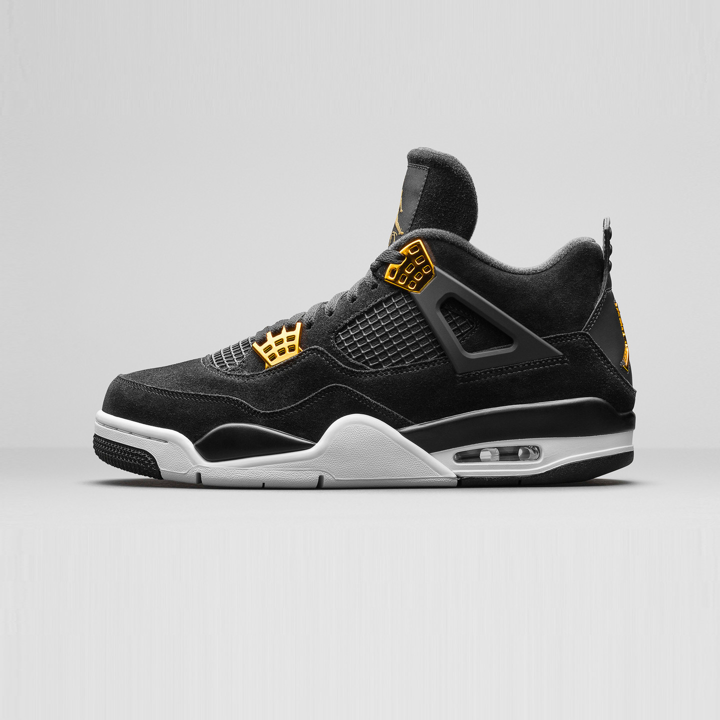 Jordan Air Jordan 4 Retro GS 'Royalty' Black / Metallic Gold / White 408452-032-37.5