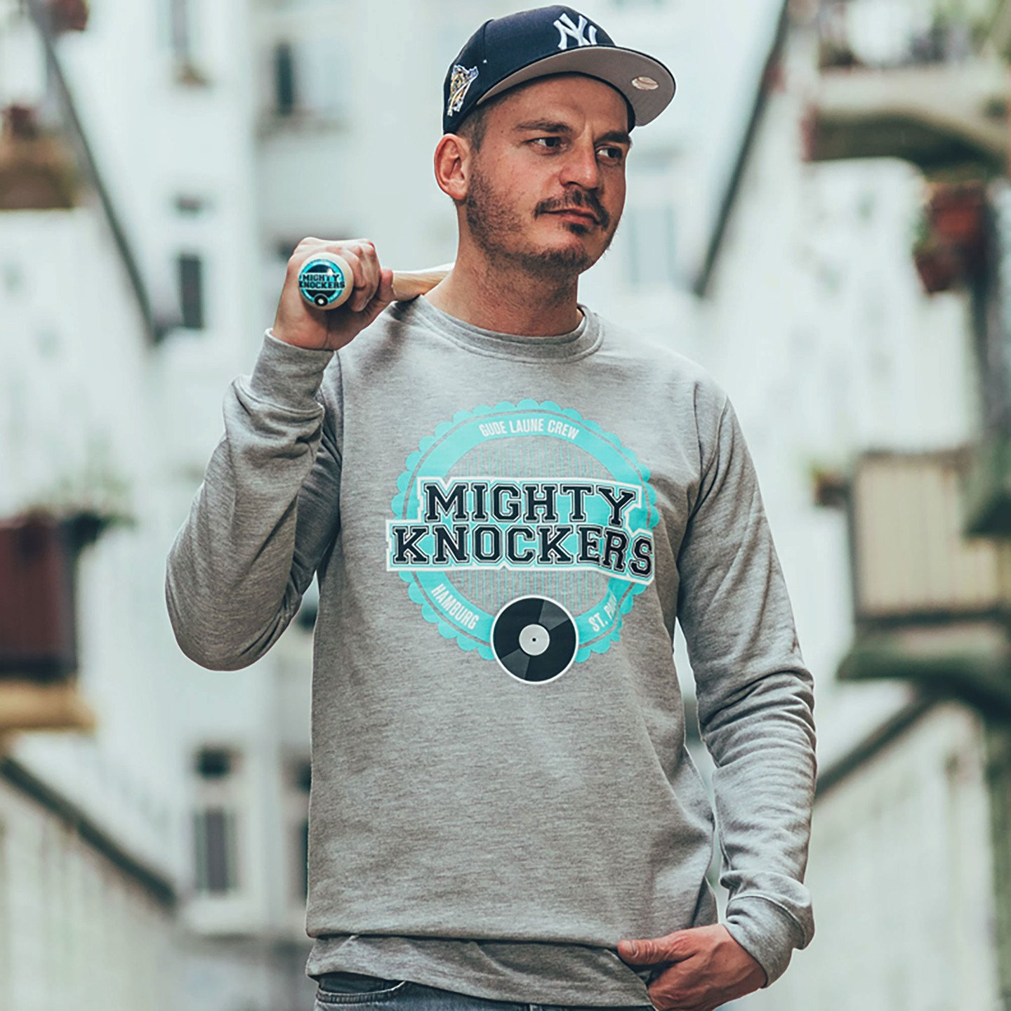 Mighty Knockers Crewneck Sweatshirt Heather Grey / Mighty Mint MK05-M