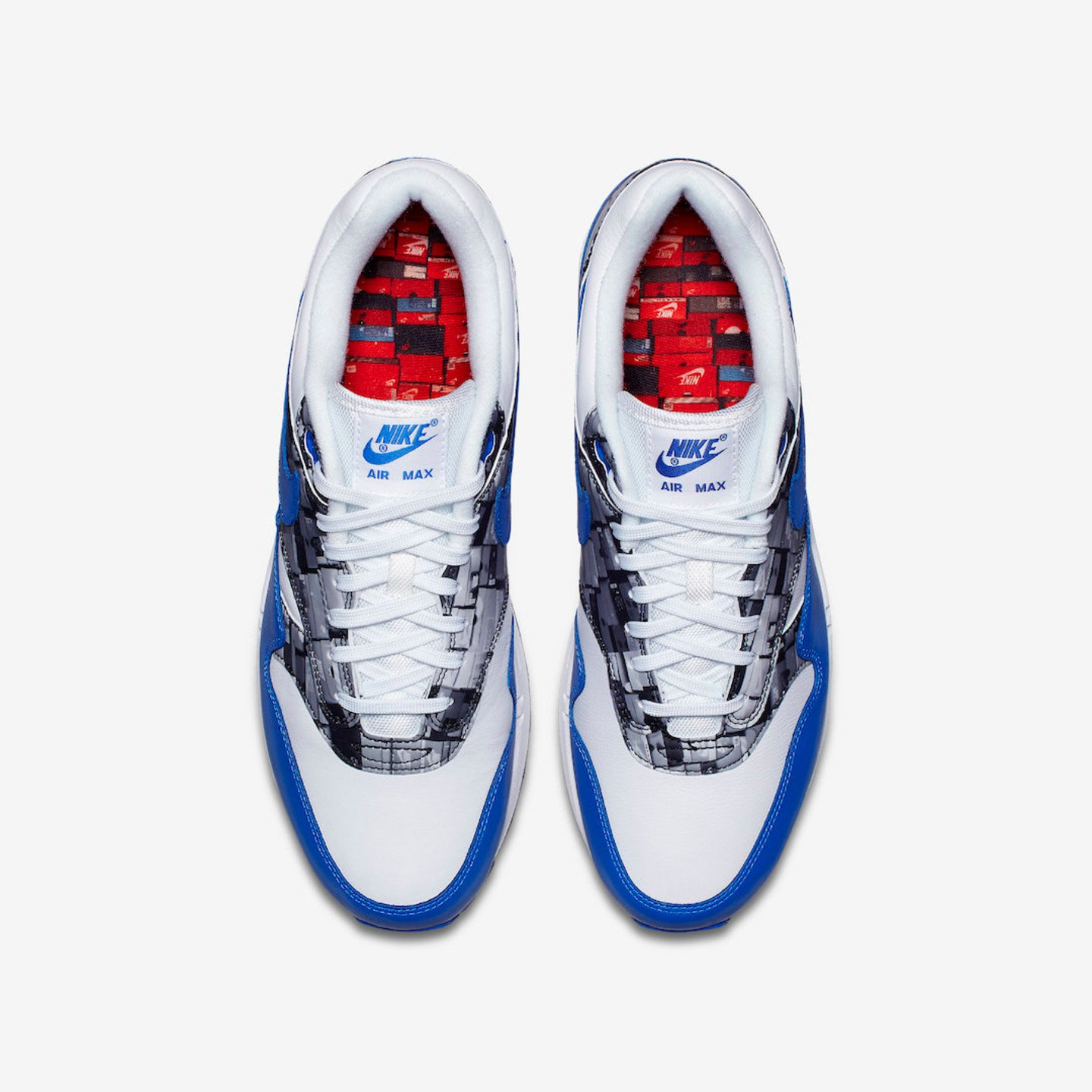 Nike Air Max 1 Print x Atmos 'We love Nike' White / Game Royal / Neutral Grey AQ0927-100