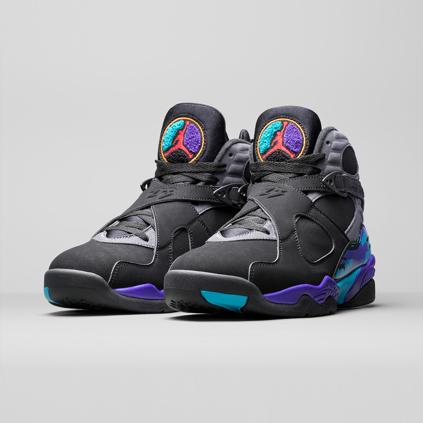 Jordan Air Jordan Retro 8 'Aqua' Black/True Red-Flint Grey-Bright Concord 305381-025-42