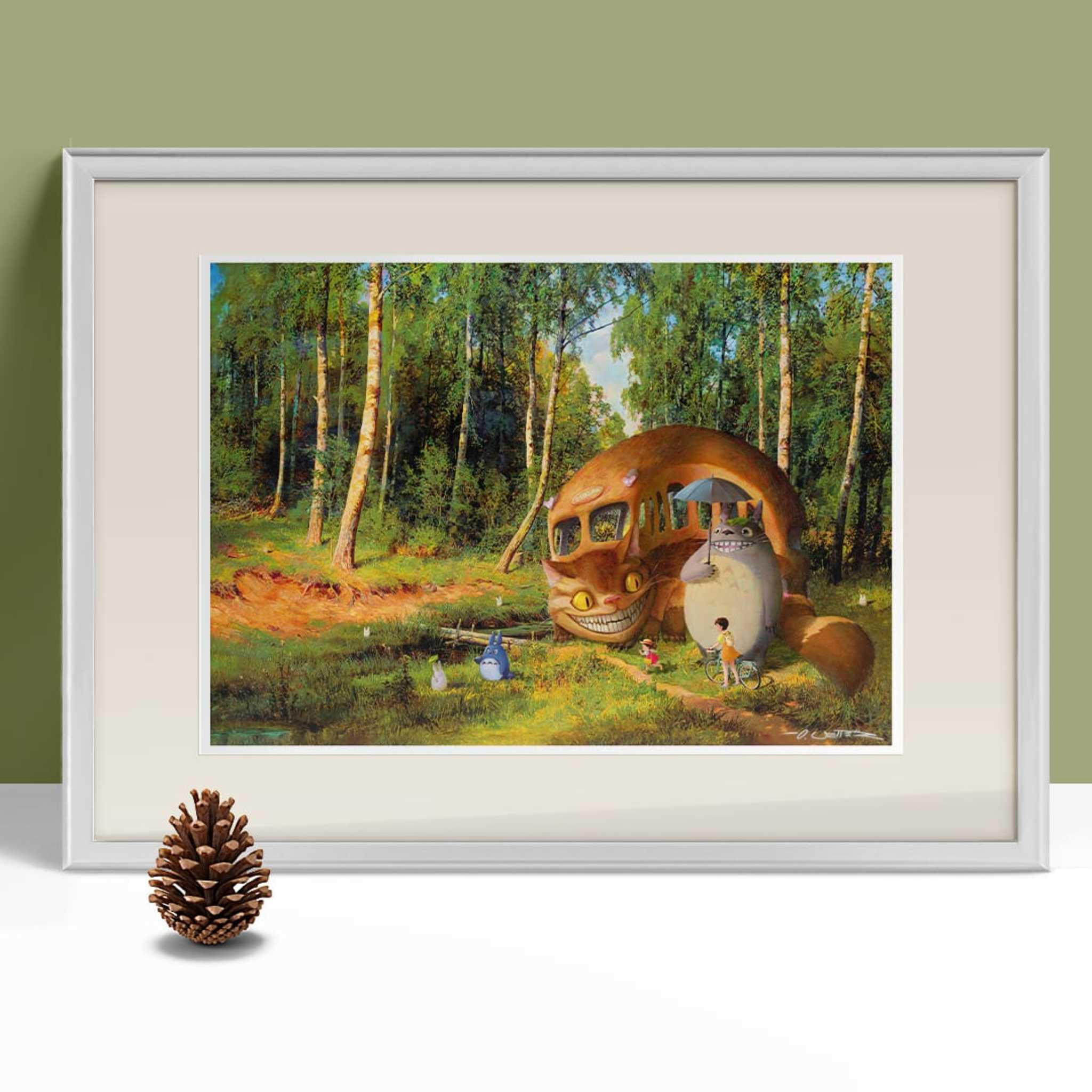 Totoro at the forest framed 1