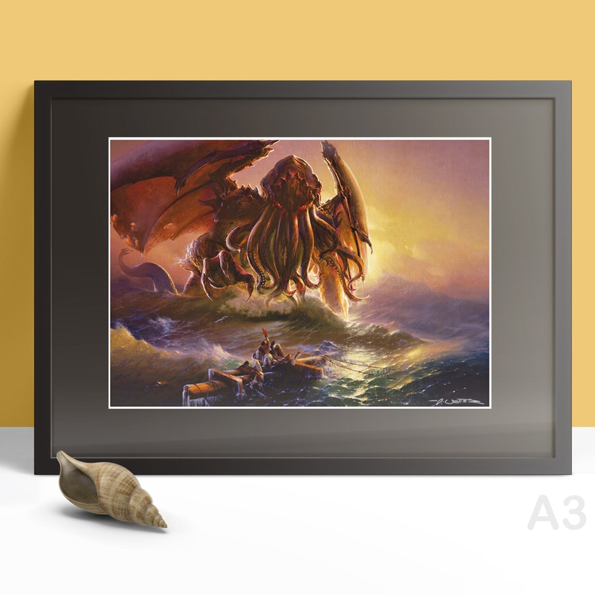Cthulhu and ninth wave print A3 gerahmt