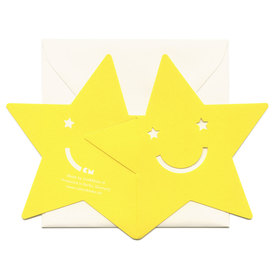 Kleine Stern Faltkarte / Small Happy Star Cut Out Card | Ausgestanzte Aufklappkarte / Foldable Cut Out Card  | Artikelnummer: cm-stern