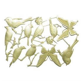 Dresdner Ornament – Vögel & Schmetterlinge / Birds & Butterflies | Goldene Papierstanzteile / Golden Cut Out Paper Ornaments | Artikelnummer: ef1