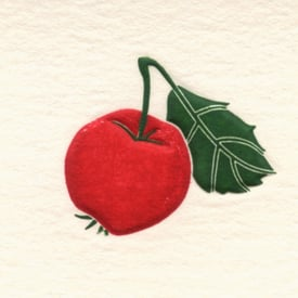 Roter Apfel Kunstkarte / Red Apple Art Card | Bunter Stahlstich / Coloured Steel Engraving | Artikelnummer: JPO_apfel