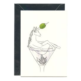 Einhorn im Martini-Glas / Unicorn in Martini glas | Illustration Lilli Gärtner | Artikelnummer: lilli02