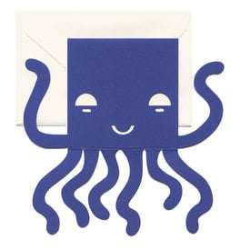 Kleine Oktopus Faltkarte / Small Octopus Cut Out Card | Ausgestanzte Aufklappkarte / Foldable Cut Out Card  | Artikelnummer: cm-octopus