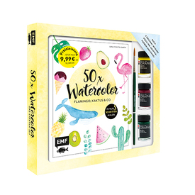50x Watercolor: Flamingo, Kaktus & Co. | Das Starter-Set inkl. 3 original Marabu Farben und Pinsel  | Artikelnummer: 9783960936015
