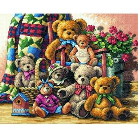 Teddy Bear Gathering - borduurpakket met telpatroon Dimensions | | Artikelnummer: dim-35115