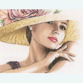 Lady with Hat - borduurpakket met telpatroon Lanarte |  | Artikelnummer: ln-168602