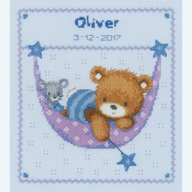 Little Bear in Hammock, blue - borduurpakket met telpatroon Vervaco |  | Artikelnummer: vvc-150993