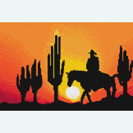 Cowboy in the Sunset 2 - borduurpakket met telpatroon Nafra |  | Artikelnummer: nf-nafra21013