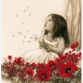 Girl in a Poppy Field - Vervaco borduurpakket met telpatroon | secret stitch along 2019-2 | Artikelnummer: vvc-184269
