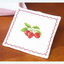 Pannenlap Strawberries - Handwerkpakketje met telpatroon Vervaco      Artikelnummer: vvc-12402