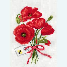 Cornflowers - Poppy - bundel van 2 handwerkpakketten met telpatroon Vervaco | met bundelkorting | Artikelnummer: vvc-70067-70044