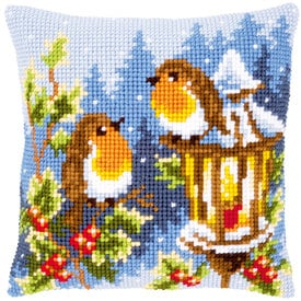 Robins at the Lantern - Vervaco Kruissteekkussen |  | Artikelnummer: vvc-145077
