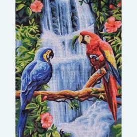 The Macaws - bundel van geschilderd stramien + borduurwol, te borduren in halve kruissteek |  | Artikelnummer: rp-132-115-bundel