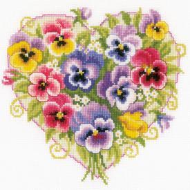 Pansies in Heart Shape  - borduurpakket met telpatroon Vervaco |  | Artikelnummer: vvc-170404