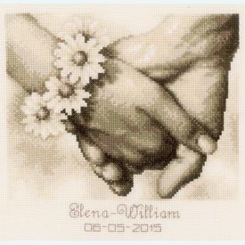 Just Married - kruissteekpakket met telpatroon Vervaco  |  | Artikelnummer: vvc-154752