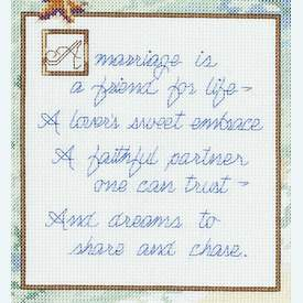 A Marriage is... - borduurpakket met telpatroon Janlynn |  | Artikelnummer: jl-023.0564