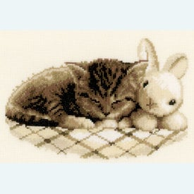 Sleeping Kitten - borduurpakket met telpatroon Vervaco |  | Artikelnummer: vvc-148754
