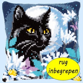 Cat in the Night MET RUG - Vervaco Kruissteekkussen |  | Artikelnummer: vvc-148218-rug