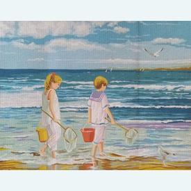Beach - bundel van geschilderd stramien + borduurwol, te borduren in halve kruissteek |  | Artikelnummer: rp-132-199-bundel
