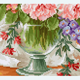 Flowers at the Window 6 - kruissteekpakket met telpatroon Luca-S |  | Artikelnummer: luca-bu4016